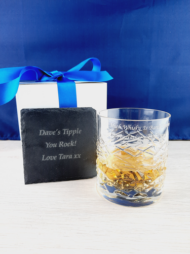 Personalised Engraved Whisky Glass & Coaster Gift Set, Crystal Cut Whisky Glass