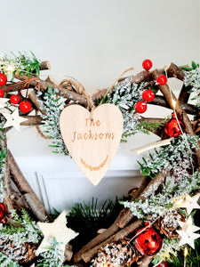 Personalised Christmas Wreath  Berry & Twig Heart 31 cm