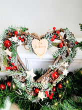 Load image into Gallery viewer, Personalised Christmas Wreath  Berry & Twig Heart 31 cm