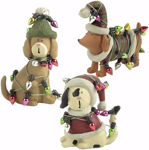 Christmas Dog Ornaments with 'Fairy Lights'