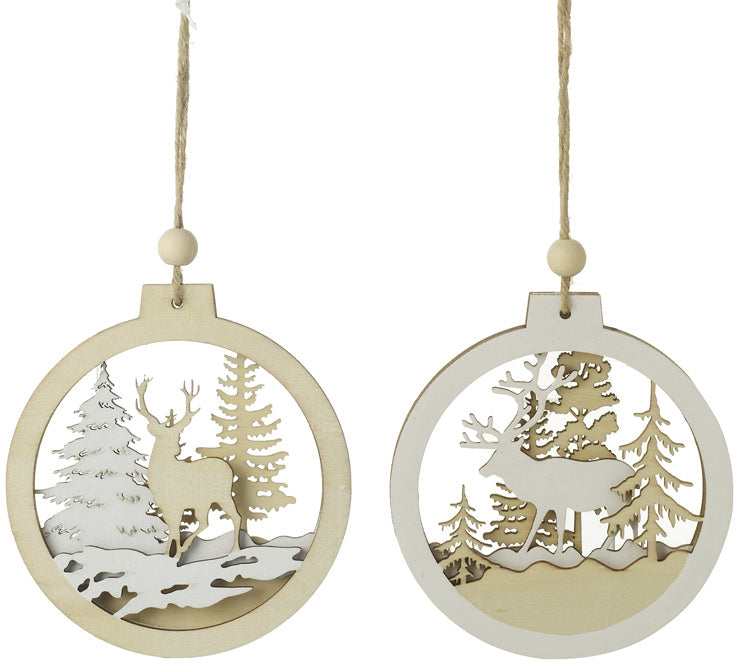 Woodland Themed Christmas Baubles with Stag / Reindeer