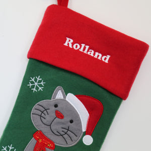 Personalised Luxury Embroidered Christmas Stocking for Pet Cat