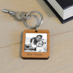 Wooden Personalised Engraved Photo Key Ring, perfect Valentine's, Mother's or Father's Day Gifts
