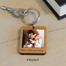 Load image into Gallery viewer, Engraved Personalised Wooden Key Ring with Name and Photo, Met Daddy Keepsake Gift