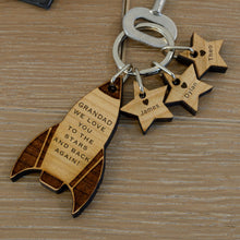Load image into Gallery viewer, Personalised Solid Cherry Wood Mummy Daddy Rocket Key Ring