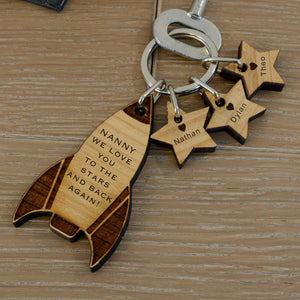 Personalised Solid Cherry Wood Mummy Daddy Rocket Key Ring