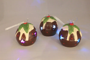 LED Christmas Pudding Style Christmas Baubles - set of 3