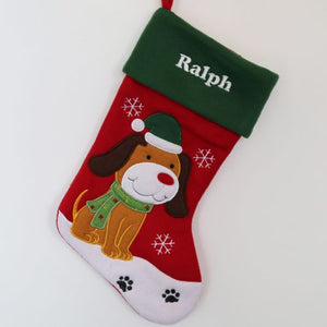 Personalised Luxury Embroidered Christmas Stocking for Pet Dog