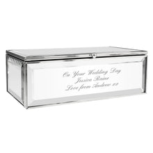 Load image into Gallery viewer, Personalised Gift Mirrored Jewellery Box Engraved with your message, Wedding Day, Valentines or Mother's Day Gift