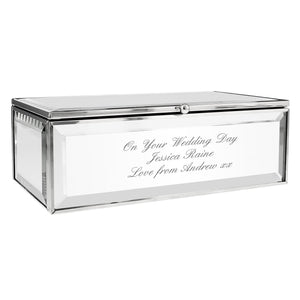 Personalised Gift Mirrored Jewellery Box Engraved with your message, Wedding Day, Valentines or Mother's Day Gift