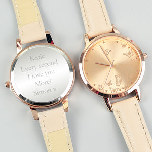 Personalised Engraved Ladies Watch in Rose Gold Valintine's Day Gift, Birthday or Mother's Day Anniversary Gift