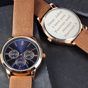 Personalised Rose Gold Men's Wrist Watch Father's Day Birthday Gift Ideas for Men