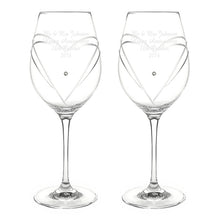 Load image into Gallery viewer, Personalised Hand Cut Diamante Heart Wine Glasses with Swarovski Elements