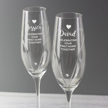 Load image into Gallery viewer, Personalised Hand Cut Heart Celebration Flutes with Swarovski