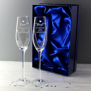Personalised Hand Cut Heart Celebration Flutes with Swarovski