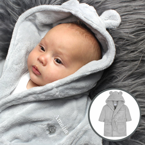 Personalised Grey Bear Ears Hooded Baby Dressing Gown