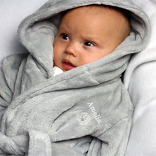 Load image into Gallery viewer, Personalised Grey Bear Ears Hooded Baby Dressing Gown