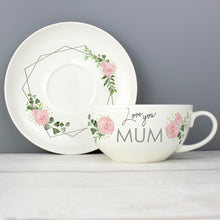 Load image into Gallery viewer, Personalised Abstract Rose Teacup & Saucer Fine Bone China Mother's Day, Birthday, Best Friend Gift Ideas