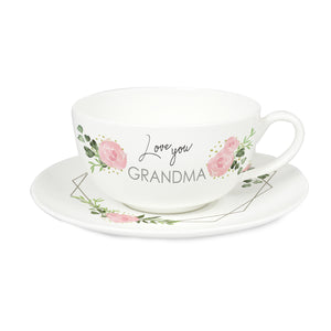 Personalised Abstract Rose Teacup & Saucer Fine Bone China Mother's Day, Birthday, Best Friend Gift Ideas