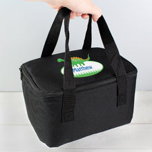 Load image into Gallery viewer, Personalised Dinosaur Black Lunch Bag