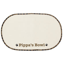 Load image into Gallery viewer, Personalised Brown Paw Print Pet Bowl Placemat Tray