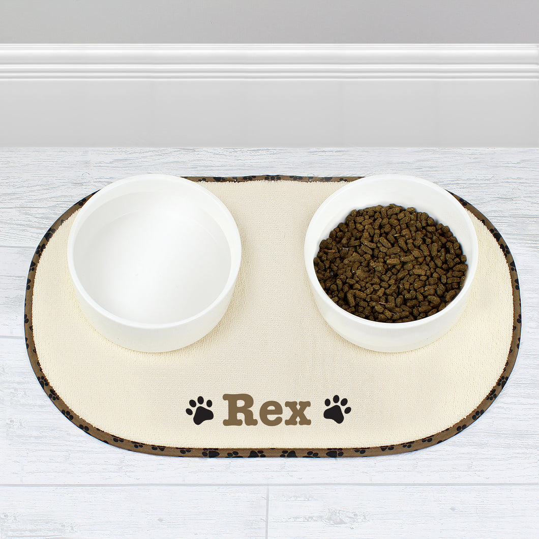 Personalised Brown Paw Print Pet Bowl Placemat Tray
