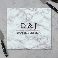 Load image into Gallery viewer, Personalised Marble Effect Glass Chopping Board/Worktop Saver