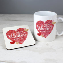 Load image into Gallery viewer, Personalised Valentine's Day Confetti Hearts Mug & Coaster Set