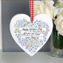 Load image into Gallery viewer, Personalised Botanical Wooden Heart Decoration