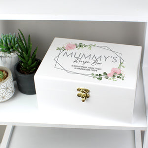 Personalised Abstract Rose White Wooden Keepsake Box - Mother's Day, Birthday, Grandmother Gift Ideas