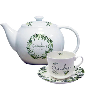 Personalised Bone China Cup Saucer and Teapot Set