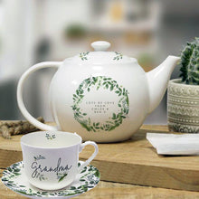Load image into Gallery viewer, Personalised Bone China Cup Saucer and Teapot Set