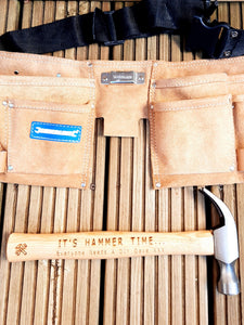 Personalised Leather Tool Belt with Hammer