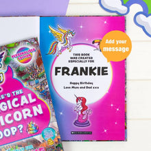Load image into Gallery viewer, Personalised Where's the Magical Unicorn Poop Activity Book | Printed with any Name and Message | Fun book for Children