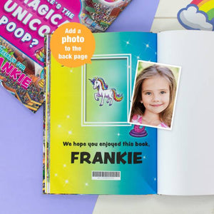 Personalised Where's the Magical Unicorn Poop Activity Book | Printed with any Name and Message | Fun book for Children