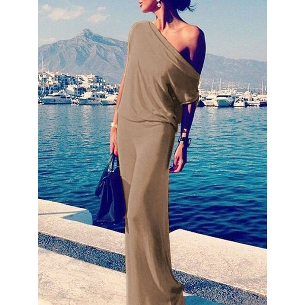 Chiczz One Shoulder  Plain Maxi Dresses
