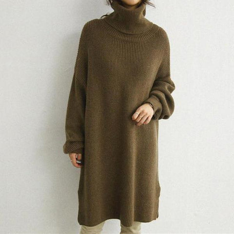 Chiczz Autumn And Winter Pure Color High Collar Loose Knitted Dress