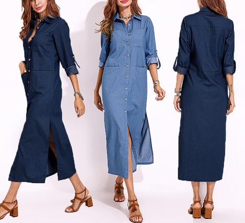 Chiczz Long Sleeved Multi-Button Long Slit Pocket Fall Dresses