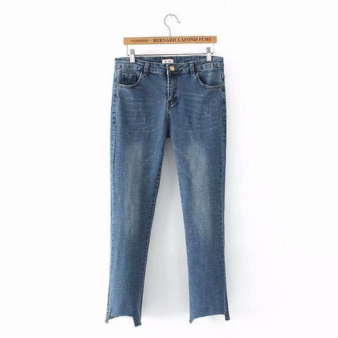 Chiczz High-Waist Jeans Feet Asymmetrical Nine Points Pants