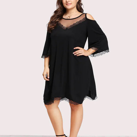Chiczz Lace Sexy Perspective Loose Bottom Midi Dress