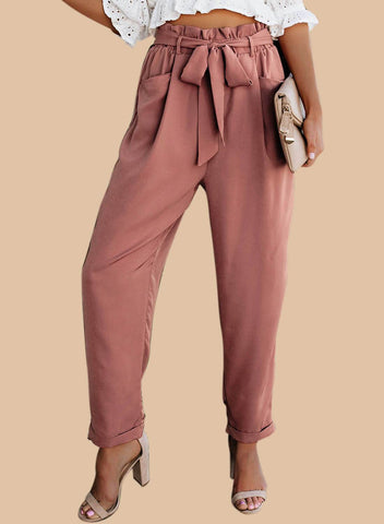 Chiczz Pocketed Paper Bag Waist Tie Pants