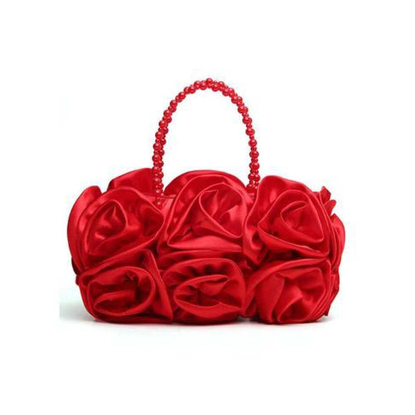 Chiczz Satin Floral Bead Handle Clutch Bag