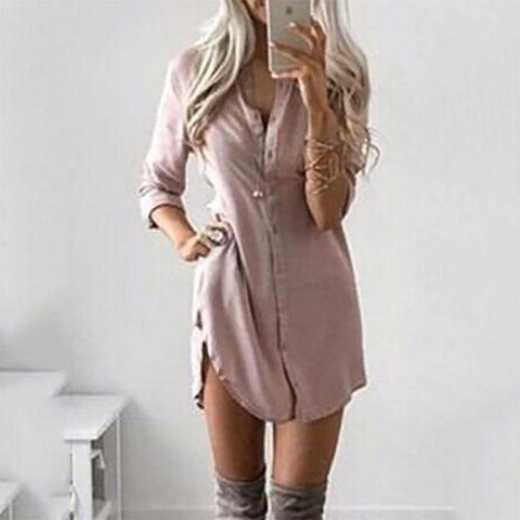 CHICZZ Split Neck  Plain Shift Dress