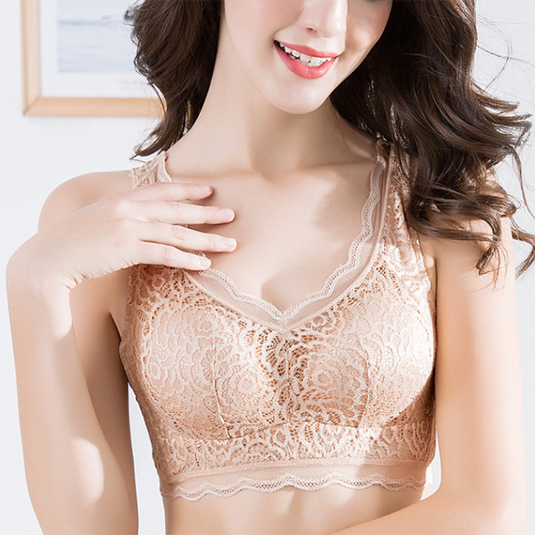 Chiczz Sexy Gathered Lace No Steel Ring To Receive Breast Adjustment Bra