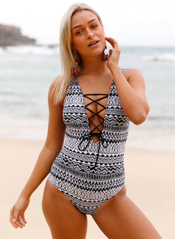 Chiczz Lace Up V Neck One-piece Swimsuit