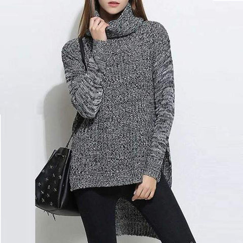CHICZZ Split High Neck Collar Long Sleeve Sweaters