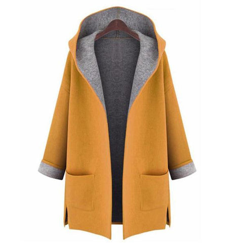 Chiczz Hooded Cardigan Wool Coat Loose Overcoat