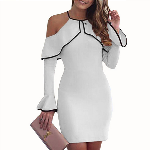 CHICZZ Solid Color Flounce Long Sleeve Dresses