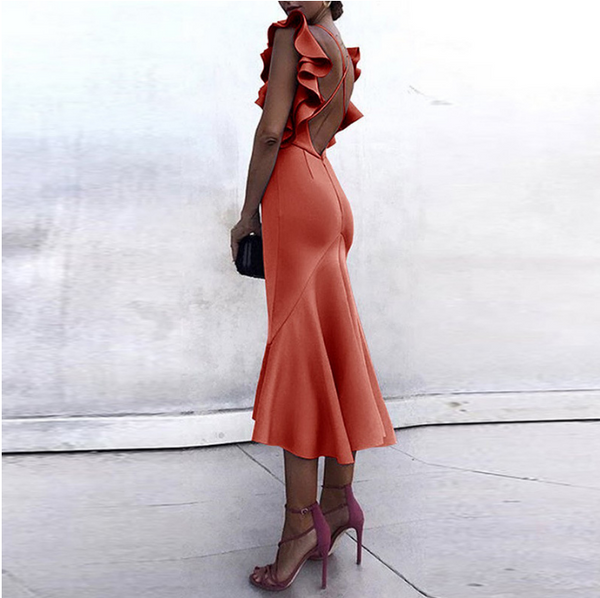 Chiczz Flounce Spaghetti-neck Backless Evening Dresses