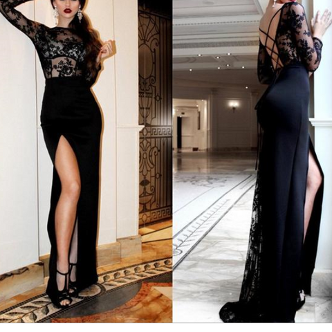 Chiczz Long Sleeve Print Openwork Patchwork Split Evening Dresses